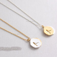 """Bird on Branch Double Coin Combination Colors Pendant with Chain Necklace 15.5"""""""