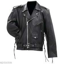 Mens Solid Cowhide Leather Black Classic Jacket Coat M L XL