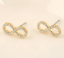 New 18K White / Rose Gold GP Inlay SWAROVSKI Crystal Cute Infinity Stud Earrings