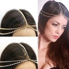 Fashion Women RHINESTONE Metal Head Chain Headband Headpiece Hair Band Jewelry