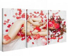 Canvas 3 pieces Female Sexy Love Akt Bottom Flowers Girl Erotic