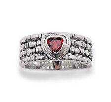Heart Shaped Genuine Garnet Rhodium Plated Wide Sterling Silver Ring