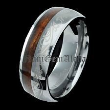 Koa Wood Ring Tungsten Hawaiian Engraving Laser Scroll Design Band 8mm
