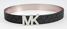 NEW MICHAEL KORS SIGNATURE MK LOGO SILVER BUCKLE WOMEN BLACK LEATHER BELT 551509