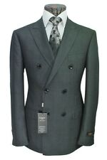 PAMONI Dark Grey Prince Of Wales Check Double Breasted Suit