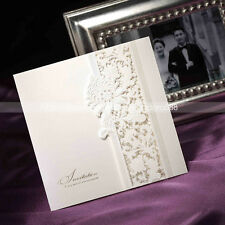 Delicate Lace Cut out Tri-fold Wedding Invitation Cards With Envelopes and Seals