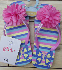 BNWT SAINSBURYS GIRLS PINK FLOWER STRIPE FLIP FLOPS INFANT SIZES 8 TO UK SIZE 4