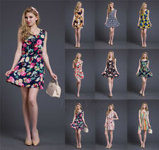 Women Summer Chiffon Sleeveless Beach Sundress Floral Vest Short Mini Dress QQ