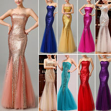 NEW Sequined Mermaid Formal Prom Cocktail Party Bridesmaid Long Evening Dresses