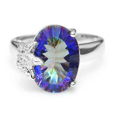 UNIQUE 5.8ct Genuine  Fire Blue Rainbow Topaz Ring Solid 925 Sterling Silver