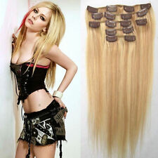 "16""20""24""10pcs 140g Set Clip in Real Remy 100% Human Hair Extension 20 Colors"