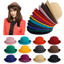 Vintage New Women Ladies Fedora Wool Felt Wide Brim Bowler Hat Bucket Cap