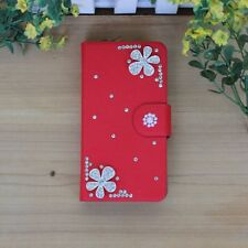 DIY Rhinestone Bling Silver Flower Pearl Leather Flip Case Cover For Samsung