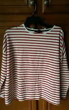 Forever 21 red cream striped top Oversize Knit Shirt M