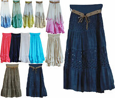 Womens Ladies Italian Layering Lagenlook Boho Hippie Gypsy Long Maxi Skirt Dress