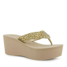 Womens Light Gold Crystal Sandal Wedge Shoes Platform Heels Thong Flip Flop Soda