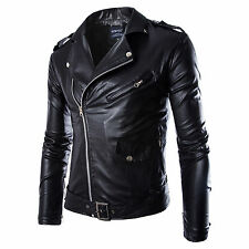 New Handsome Men Slim Fit PU Leather Biker Overcoat Jacket Motorcycle Black Coat