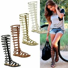 New Women Strappy Knee High Boots Open Toe Gladiator Zipper Flat Sandals shoes