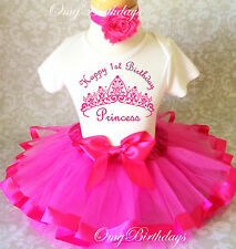 Princess Crown Hot Pink baby Girl 1st First Birthday Tutu Outfit Shirt Set