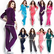 Women Velour Hoodie+Pant Tracksuit Sport Yoga Running Sweat Suit Luxurious