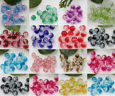 Fashion Round Clear Crackle Art Crystal Glass Charm Beads 8mm Jewelry Findings