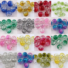 New 50/100PCS Round Clear Crackle Art Crystal Glass Charm Beads Findings DIY 6mm