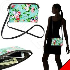 Mint Turquoise Floral Genuine Leather Shoulder Strap Women Wristlet Bag Purse