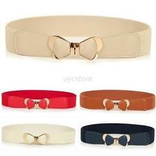 Pretty Metal Gold Bowknot Womens PU Leather Elastic Stretch Waist Belt Waistband