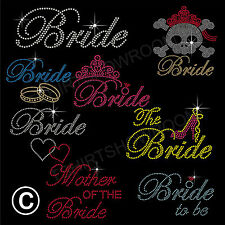 Wedding Bride Hen Stag Rhinestone Diamante Iron on Bling TShirt Transfer Motif