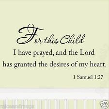 For This Child I Have Prayed Nursery Wall Quotes Babys Room Nursery Decal Decor
