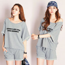 NEW Women's Summer Casual Loose Tracksuit Sport Short Sleeve T-shirt+Shorts Suit