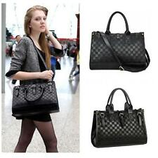 Chic Women Handbag Tote Faux Leather Ladies Check Pattern Messenger Shoulderbag