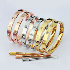 Women's Men's Stainless Steel CZ Screw Head Bracelet Screw Driver Cuff Bangle