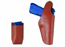 New Barsony Burgundy Leather Belt OWB Holster + Mag Pouch Colt Full Size 9mm 40