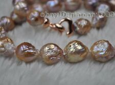 GORGEOUS! Natural Rainbow 10-14mm Furrow Kasumi pearl necklace Dark color