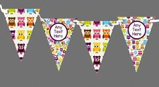 Pretty Owl Pattern Personalised Children's Birthday Party Bunting