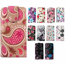 Floral Print PU Leather Flip Case Cover Pouch For Various Mobile Phones + Stylus