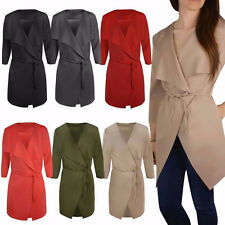 New Womens Ladies Italian Design Waterfall Belted Long Sleeve Trench Coat Jacket