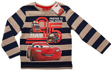 ✿DISNEY CARS✿ Pullover Long sleeves Shirt Blue/beige striped 98 - 8 YEARS NEW