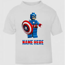 Personalised Captain America Lego Boys T-Shirt Top Childs Tee age kids size gift