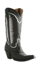 Lucchese M4872.S53F Womens Black Twisted Leather Western Horseman Cowboy Boots