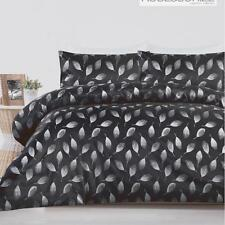 WILLOUGHBY Charcoal Black Poly Jacquard KING*QUEEN Quilt Duvet Doona Cover Set
