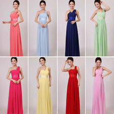 One shoulder Chiffon Party Evening Wedding Bridesmaid Prom long Ball lady dress