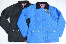 Ladies Quilted Padded Jacket/Coat Blue/Black With Stripe Lining S,M,L,XL 8-14