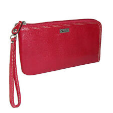 New Buxton Womens Leather RFID L-Zip Around Expandable Wallet with Removable Wri