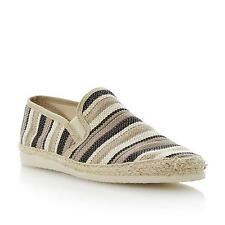 Dune Mens FLOUNDER Woven Canvas Espadrille in Brown