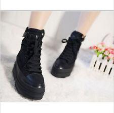 Womens Faux Leather Zipper Casual Sneaker Round Toe Platform Warm High-Top Shoes