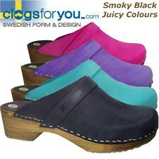 KLOGGA QUALITY Swedish Clogs Waxy Suede Leather Wooden Soles Holzclogs Sabots
