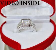 3.8*CT Assher Cut Engagement Wedding Diamond Ring Fine 22KT Silver Made in Italy