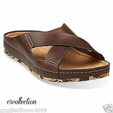 New Clarks Mens Netrix Cross Low Slide Sandals Brown Leather Slip Strap 26107051